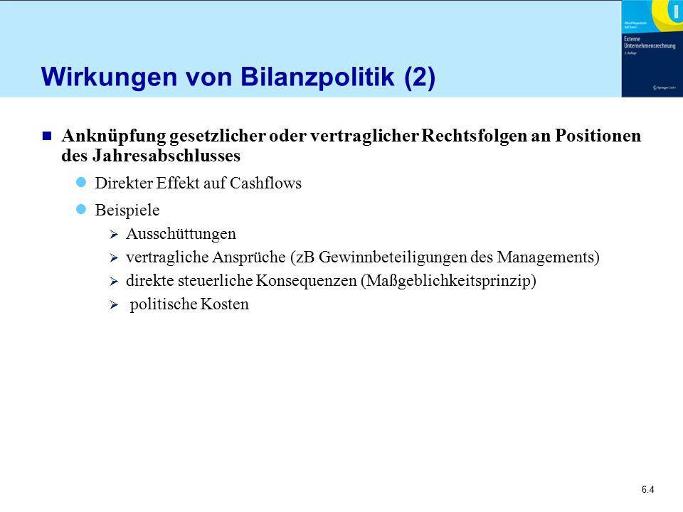 6.5 Bilanzpolitische Maßnahmen