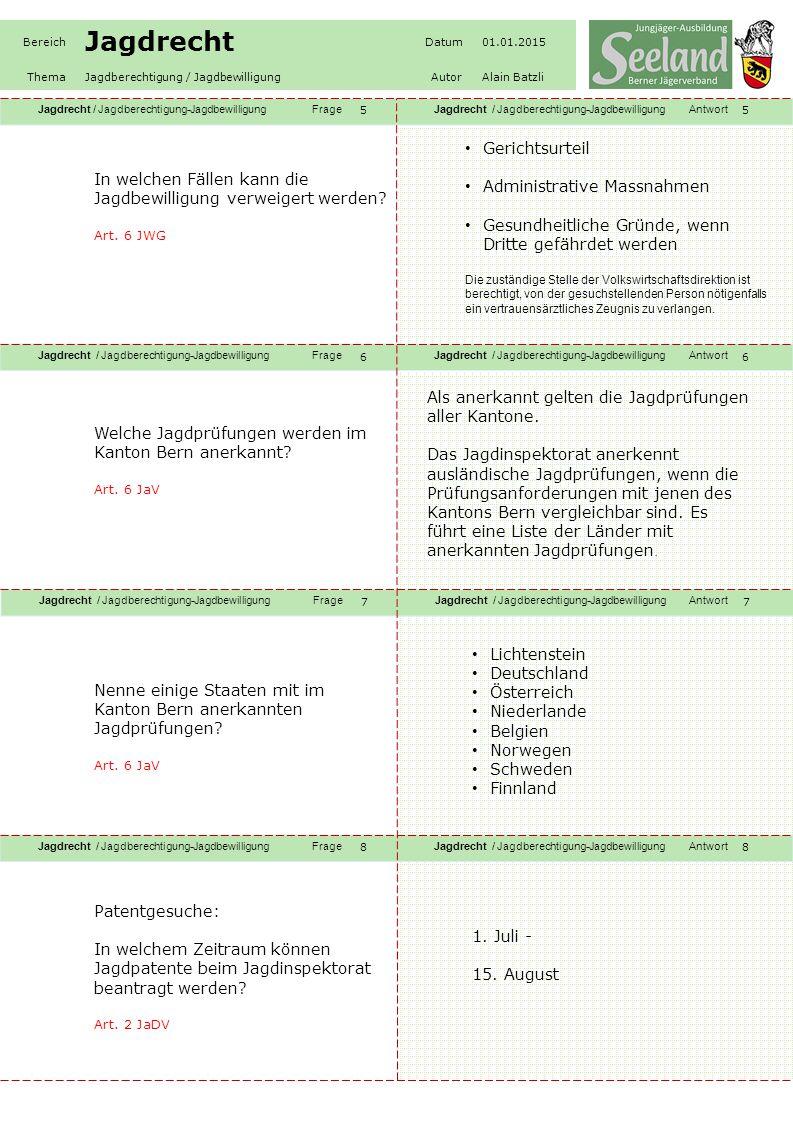 Jagdrecht / Jagdberechtigung-JagdbewilligungFrageJagdrecht / Jagdberechtigung-JagdbewilligungAntwort Jagdrecht / Jagdberechtigung-JagdbewilligungFrageJagdrecht / Jagdberechtigung-JagdbewilligungAntwort Jagdrecht / Jagdberechtigung-JagdbewilligungFrageJagdrecht / Jagdberechtigung-JagdbewilligungAntwort Jagdrecht / Jagdberechtigung-JagdbewilligungFrageJagdrecht / Jagdberechtigung-JagdbewilligungAntwort Bereich Jagdrecht Datum01.01.2015 ThemaJagdberechtigung / JagdbewilligungAutorAlain Batzli 99 10 11 12 Patentgesuche: Wer erstmals ein Patent beantragt muss was zusätzlich dem Patentgesuch beilegen.