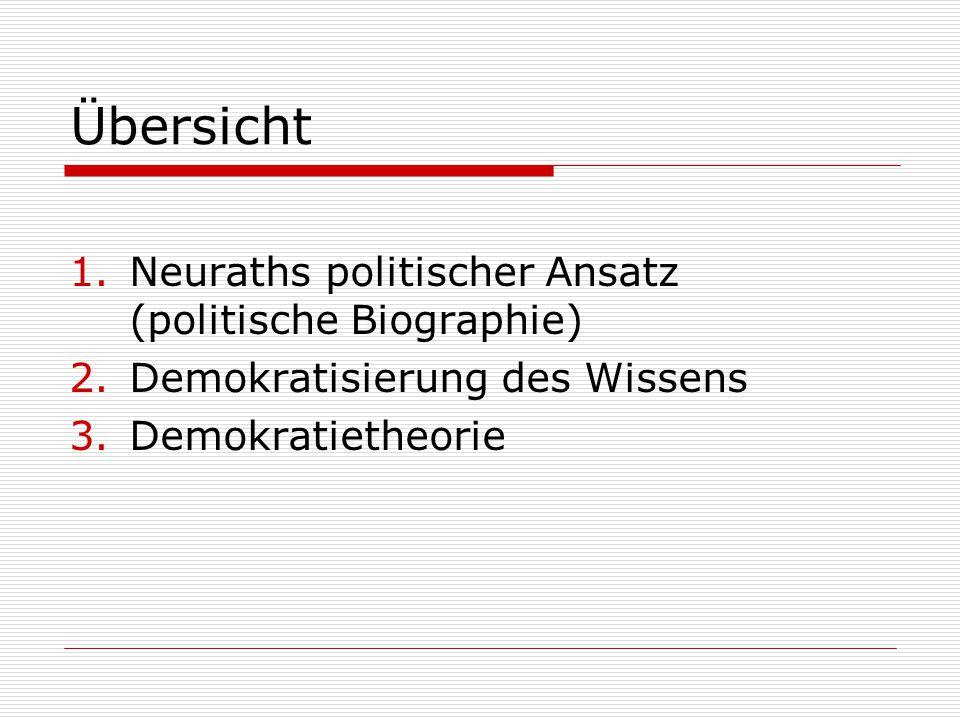 Übersicht 1.Neuraths politischer Ansatz (politische Biographie) 2.Demokratisierung des Wissens 3.Demokratietheorie