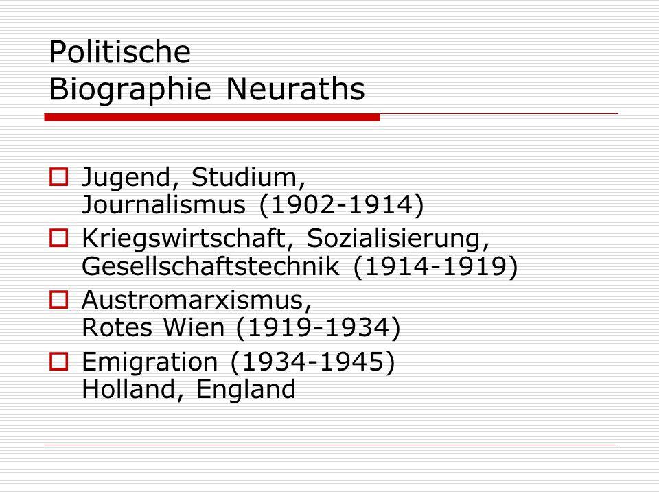 Politische Biographie Neuraths  Jugend, Studium, Journalismus (1902-1914)  Kriegswirtschaft, Sozialisierung, Gesellschaftstechnik (1914-1919)  Austromarxismus, Rotes Wien (1919-1934)  Emigration (1934-1945) Holland, England