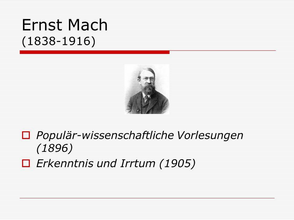 Ernst Mach (1838-1916)  Populär-wissenschaftliche Vorlesungen (1896)  Erkenntnis und Irrtum (1905)