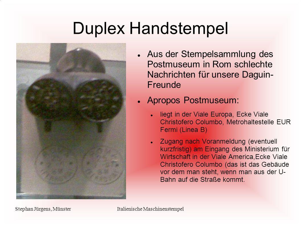Stephan Jürgens, MünsterItalienische Maschinenstempel Duplex Handstempel Aus der Stempelsammlung des Postmuseum in Rom schlechte Nachrichten für unser