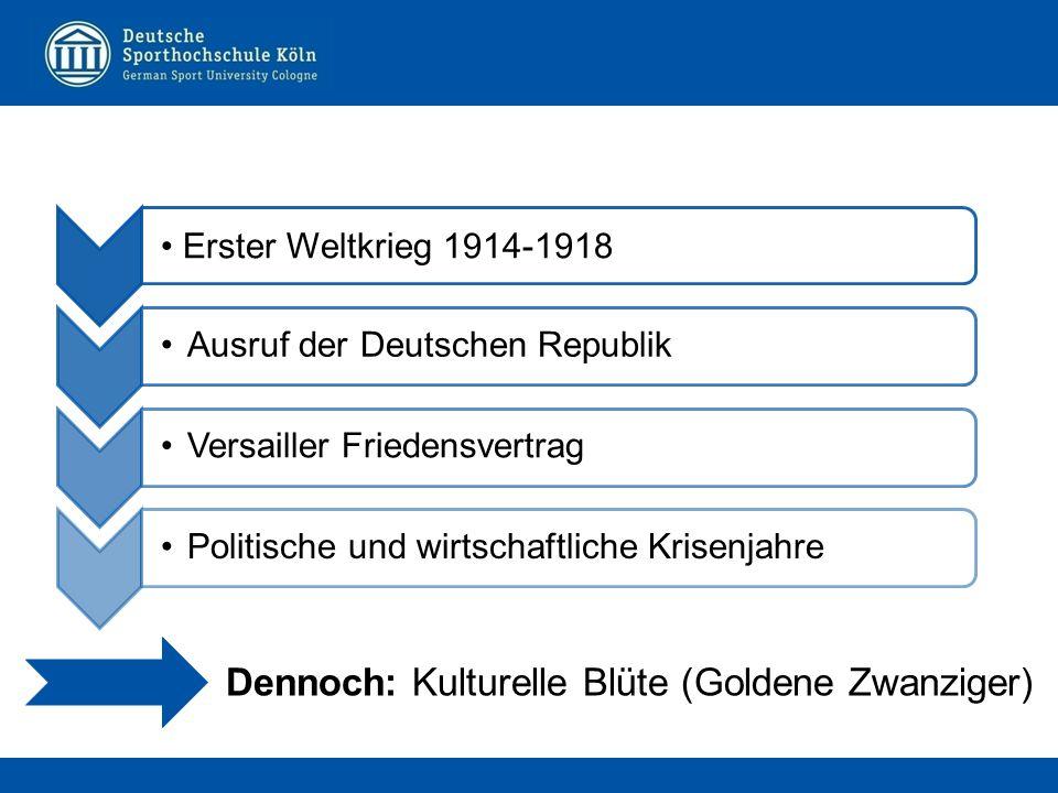 Erster Weltkrieg 1914-1918 Ausruf der Deutschen RepublikVersailler FriedensvertragPolitische und wirtschaftliche Krisenjahre Dennoch: Kulturelle Blüte (Goldene Zwanziger)