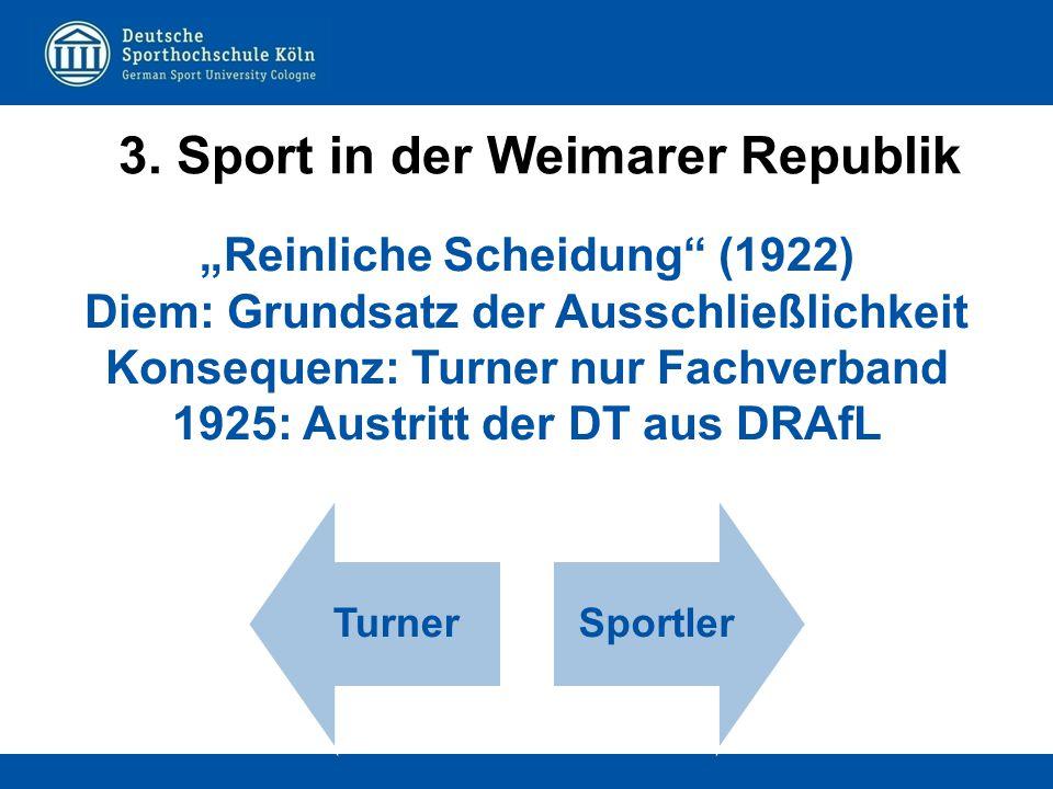 """TurnerSportler """"Reinliche Scheidung"""" (1922) Diem: Grundsatz der Ausschließlichkeit Konsequenz: Turner nur Fachverband 1925: Austritt der DT aus DRAfL"""