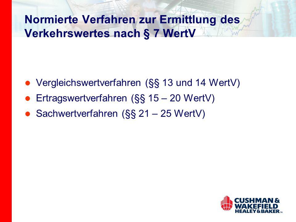 Normierte Verfahren zur Ermittlung des Verkehrswertes nach § 7 WertV Vergleichswertverfahren (§§ 13 und 14 WertV) Ertragswertverfahren (§§ 15 – 20 WertV) Sachwertverfahren (§§ 21 – 25 WertV)
