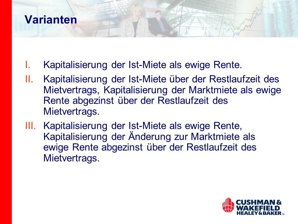 Varianten I.Kapitalisierung der Ist-Miete als ewige Rente.