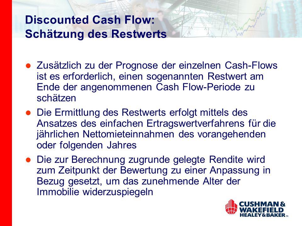 Discounted Cash Flow: Schätzung des Restwerts Zusätzlich zu der Prognose der einzelnen Cash-Flows ist es erforderlich, einen sogenannten Restwert am Ende der angenommenen Cash Flow-Periode zu schätzen Die Ermittlung des Restwerts erfolgt mittels des Ansatzes des einfachen Ertragswertverfahrens für die jährlichen Nettomieteinnahmen des vorangehenden oder folgenden Jahres Die zur Berechnung zugrunde gelegte Rendite wird zum Zeitpunkt der Bewertung zu einer Anpassung in Bezug gesetzt, um das zunehmende Alter der Immobilie widerzuspiegeln