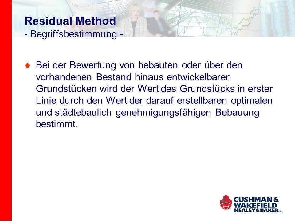 Residual Method - Begriffsbestimmung - Bei der Bewertung von bebauten oder über den vorhandenen Bestand hinaus entwickelbaren Grundstücken wird der We