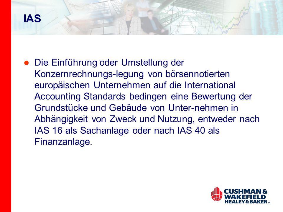 IAS Die Einführung oder Umstellung der Konzernrechnungs-legung von börsennotierten europäischen Unternehmen auf die International Accounting Standards bedingen eine Bewertung der Grundstücke und Gebäude von Unter-nehmen in Abhängigkeit von Zweck und Nutzung, entweder nach IAS 16 als Sachanlage oder nach IAS 40 als Finanzanlage.