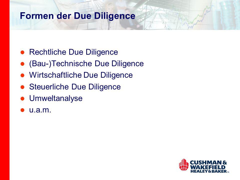 Formen der Due Diligence Rechtliche Due Diligence (Bau-)Technische Due Diligence Wirtschaftliche Due Diligence Steuerliche Due Diligence Umweltanalyse u.a.m.