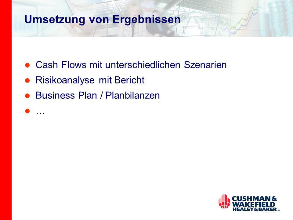 Umsetzung von Ergebnissen Cash Flows mit unterschiedlichen Szenarien Risikoanalyse mit Bericht Business Plan / Planbilanzen …