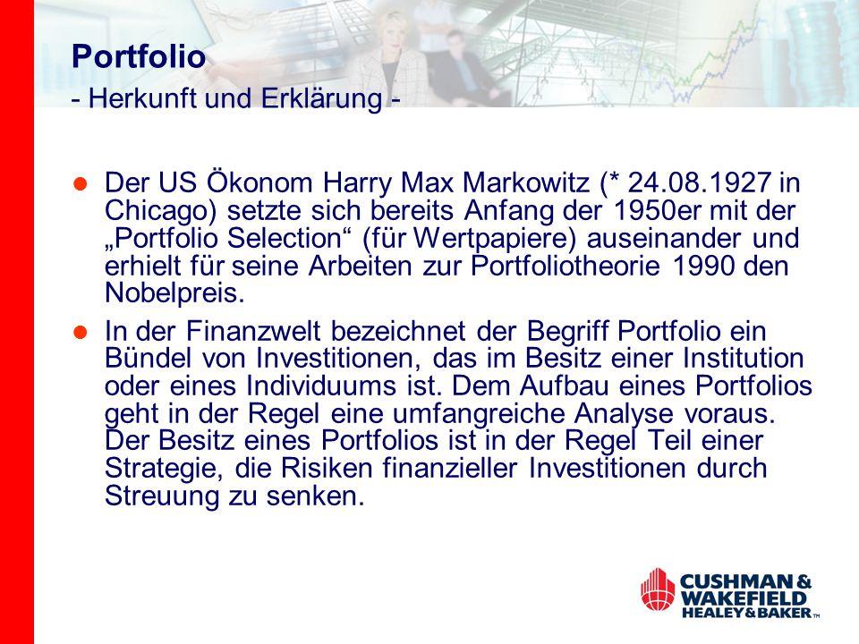 """Portfolio - Herkunft und Erklärung - Der US Ökonom Harry Max Markowitz (* 24.08.1927 in Chicago) setzte sich bereits Anfang der 1950er mit der """"Portfo"""