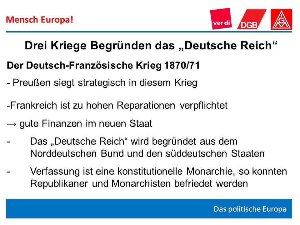 """Mensch Europa! Das politische Europa Drei Kriege Begründen das """"Deutsche Reich"""" Der Deutsch-Französische Krieg 1870/71 - Preußen siegt strategisch in"""