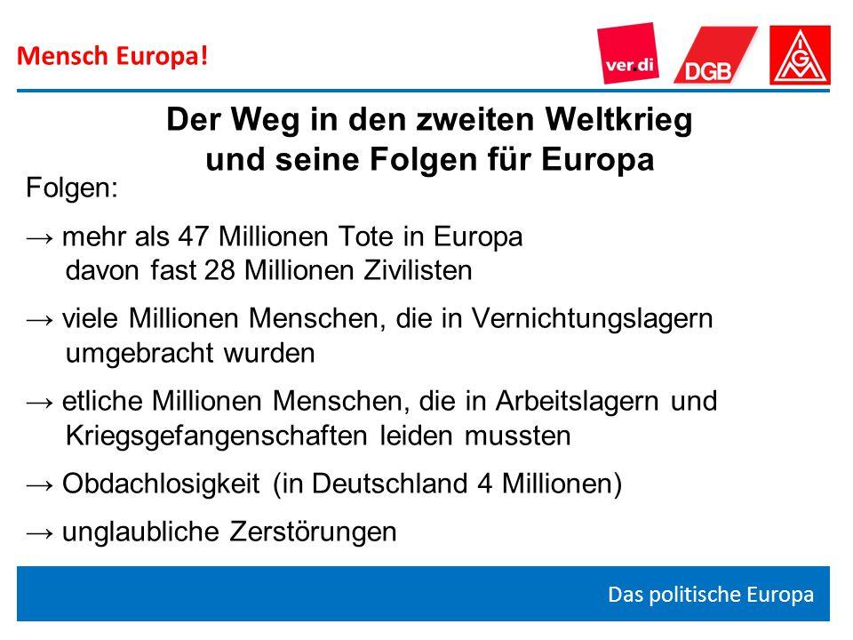Mensch Europa! Das politische Europa Der Weg in den zweiten Weltkrieg und seine Folgen für Europa Folgen: → mehr als 47 Millionen Tote in Europa davon