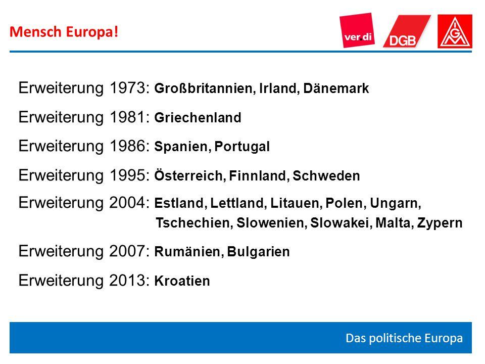 Mensch Europa! Das politische Europa Erweiterung 1973: Großbritannien, Irland, Dänemark Erweiterung 1981: Griechenland Erweiterung 1986: Spanien, Port
