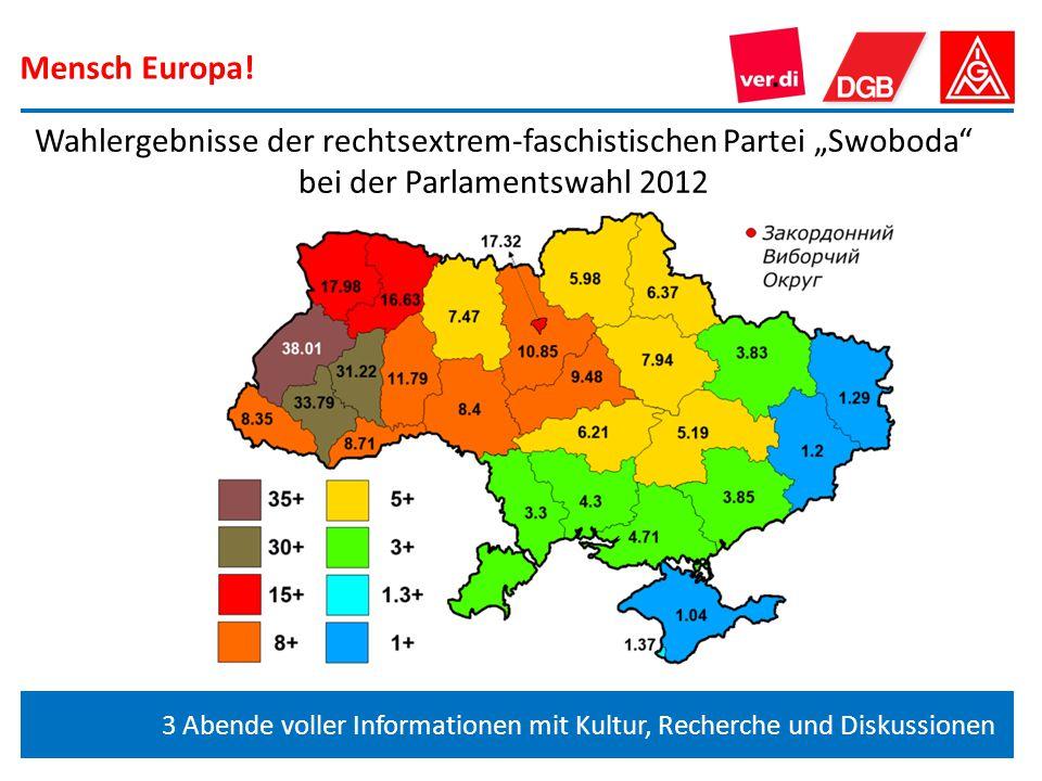 """Mensch Europa! 3 Abende voller Informationen mit Kultur, Recherche und Diskussionen Wahlergebnisse der rechtsextrem-faschistischen Partei """"Swoboda"""" be"""