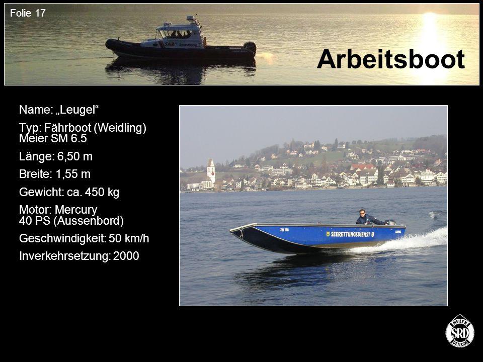 """Folie 17 Arbeitsboot Name: """"Leugel Typ: Fährboot (Weidling) Meier SM 6.5 Länge: 6,50 m Breite: 1,55 m Gewicht: ca."""