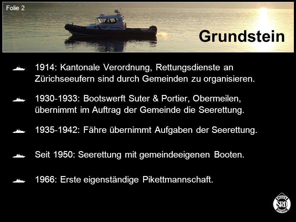 Folie 2 Grundstein  1914: Kantonale Verordnung, Rettungsdienste an Zürichseeufern sind durch Gemeinden zu organisieren.