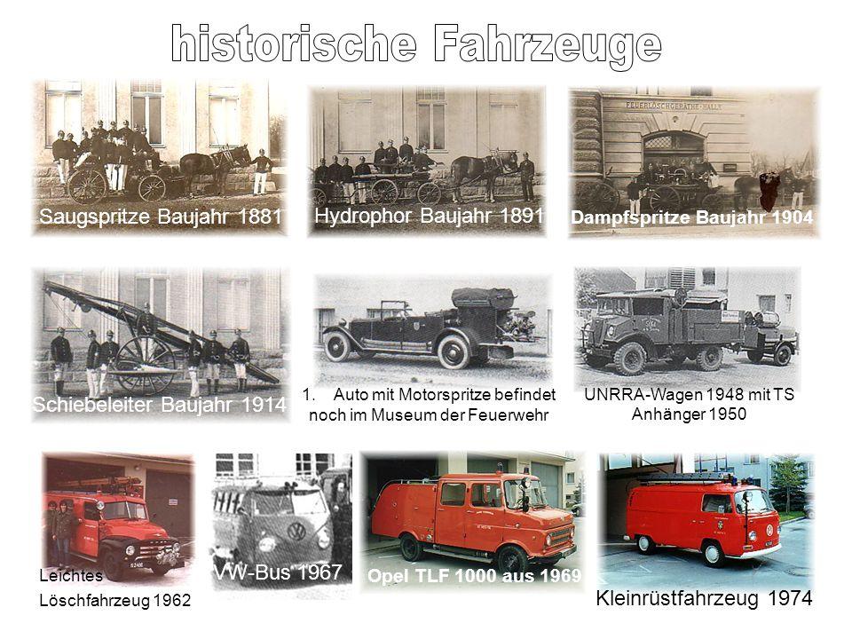 Saugspritze Baujahr 1881 Hydrophor Baujahr 1891 Dampfspritze Baujahr 1904 Schiebeleiter Baujahr 1914 1.Auto mit Motorspritze befindet noch im Museum d