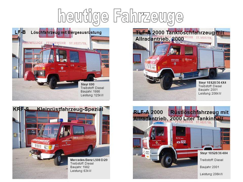 Steyr 690 Treibstoff: Diesel Baujahr: 1986 Leistung: 125kW LF-B Löschfahrzeug mit Bergeausrüstung Steyr 18S28/36 4X4 Treibstoff: Diesel Baujahr: 2001
