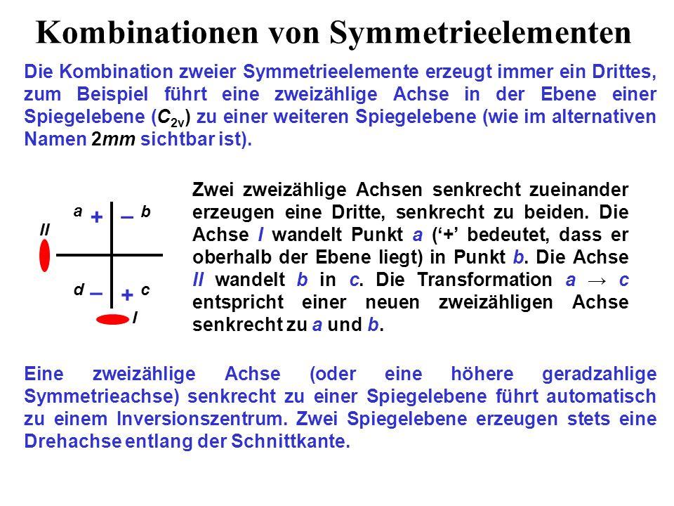 Kombinationen von Symmetrieelementen Die Kombination zweier Symmetrieelemente erzeugt immer ein Drittes, zum Beispiel führt eine zweizählige Achse in