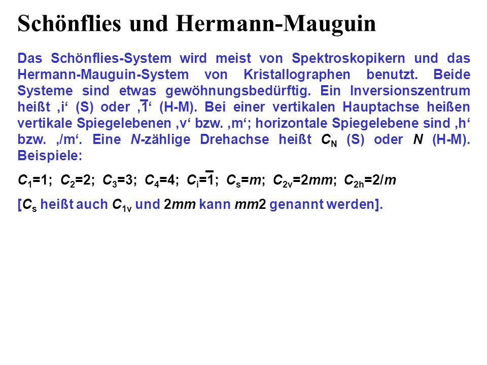 Schönflies und Hermann-Mauguin Das Schönflies-System wird meist von Spektroskopikern und das Hermann-Mauguin-System von Kristallographen benutzt. Beid