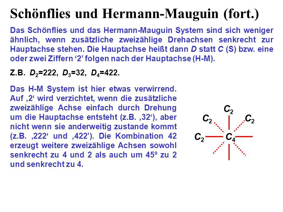 Schönflies und Hermann-Mauguin (fort.) Das Schönflies und das Hermann-Mauguin System sind sich weniger ähnlich, wenn zusätzliche zweizählige Drehachse
