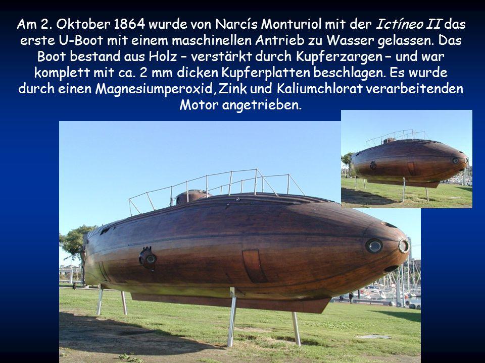 Während des amerikanischen Bürgerkrieges wurden mehrere handgetriebene U-Boote gebaut, u. a. die CSS H. L. Hunley. Am 17. Februar 1864 versenkte sie d