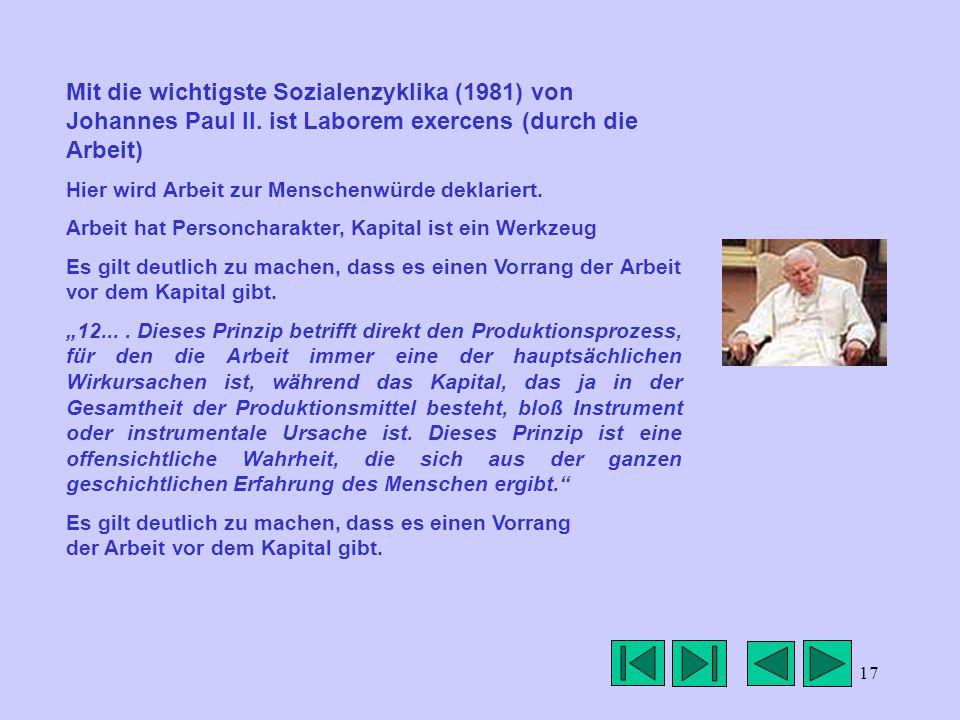 17 Mit die wichtigste Sozialenzyklika (1981) von Johannes Paul II.