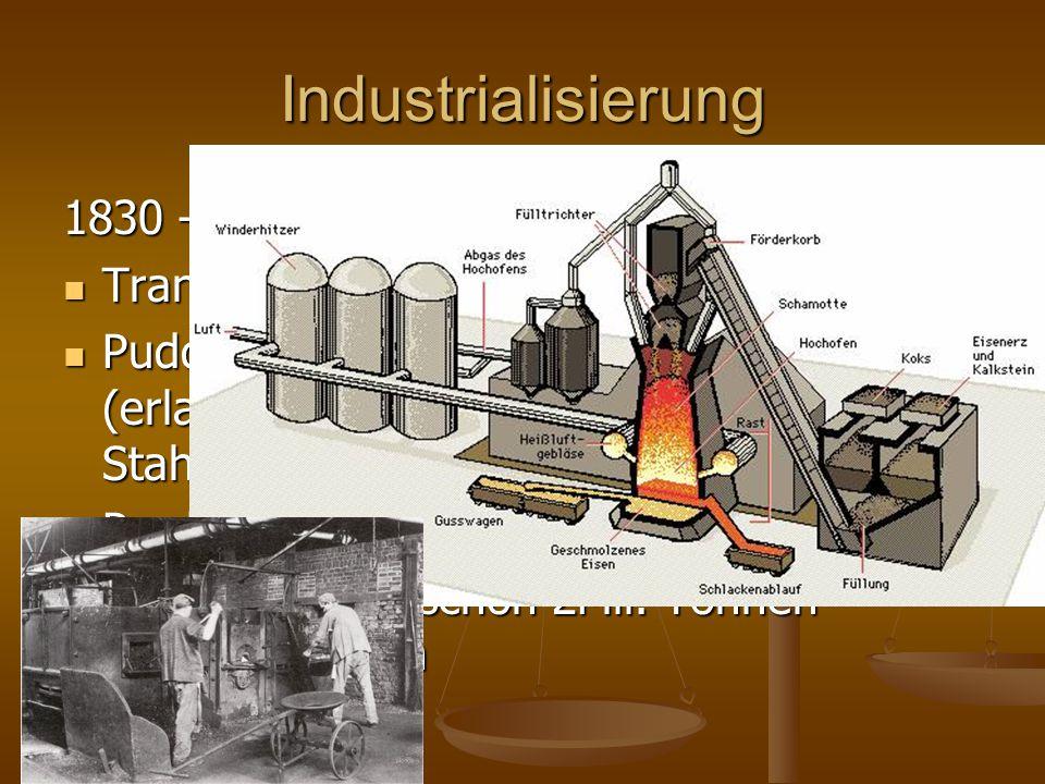 Industrialisierung 1830 – 1848 Transport über die Ruhr Transport über die Ruhr Puddelverfahren (erlaubt die massenhafte Produktion von Stahl) Puddelve