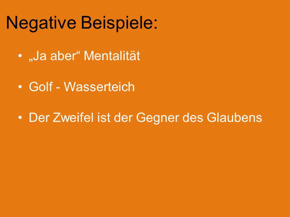 """Negative Beispiele: """"Ja aber"""" Mentalität Golf - Wasserteich Der Zweifel ist der Gegner des Glaubens"""