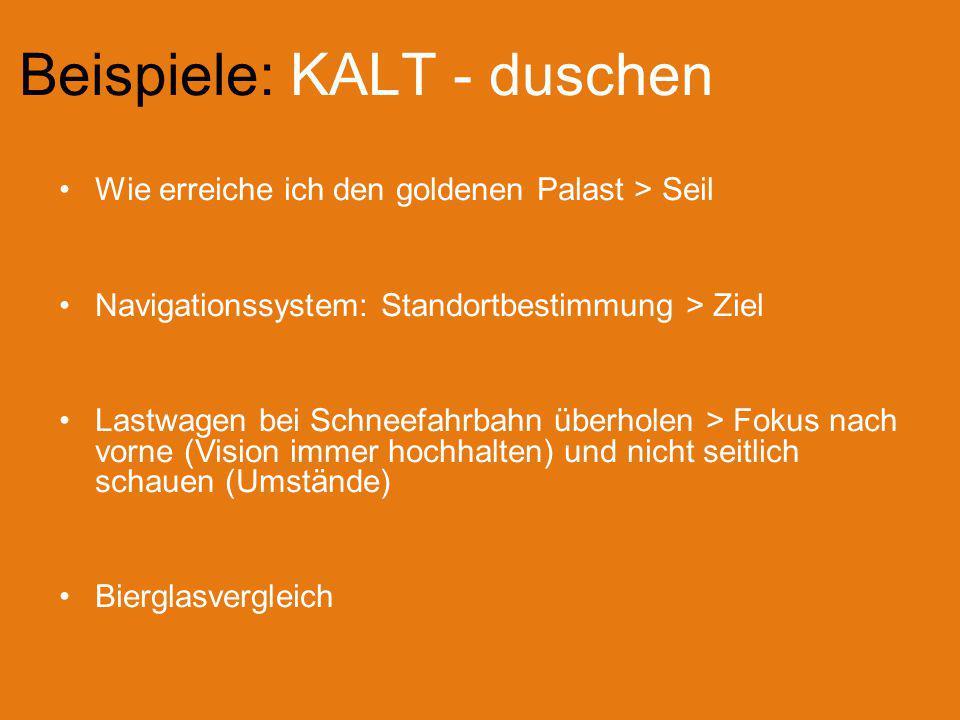 Beispiele: KALT - duschen Wie erreiche ich den goldenen Palast > Seil Navigationssystem: Standortbestimmung > Ziel Lastwagen bei Schneefahrbahn überho