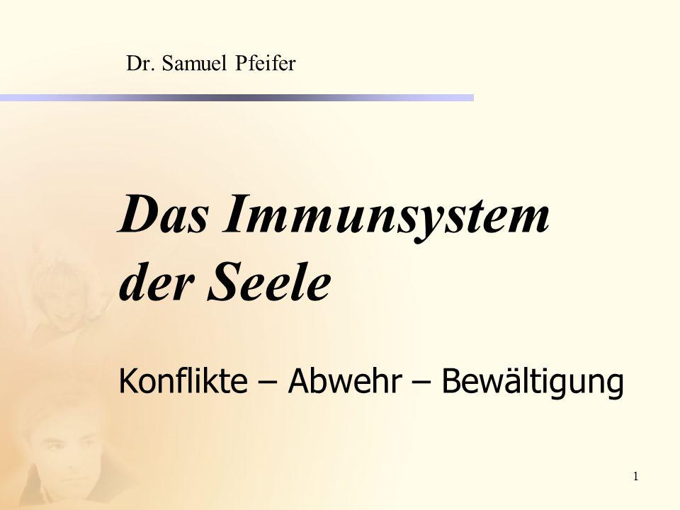 1 Das Immunsystem der Seele Konflikte – Abwehr – Bewältigung Dr. Samuel Pfeifer