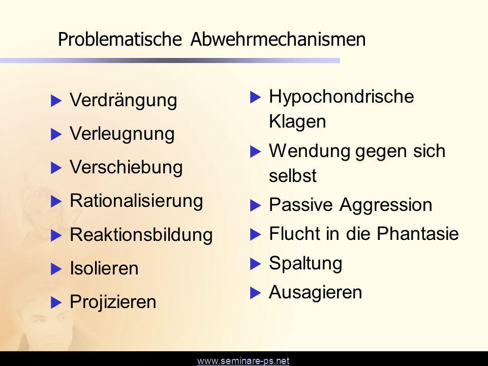 www.seminare-ps.net Problematische Abwehrmechanismen  Verdrängung  Verleugnung  Verschiebung  Rationalisierung  Reaktionsbildung  Isolieren  Pr