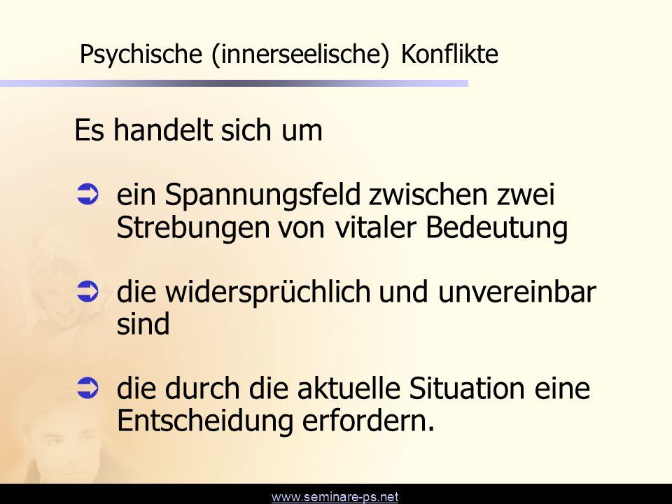 www.seminare-ps.net Psychische (innerseelische) Konflikte Es handelt sich um  ein Spannungsfeld zwischen zwei Strebungen von vitaler Bedeutung  die