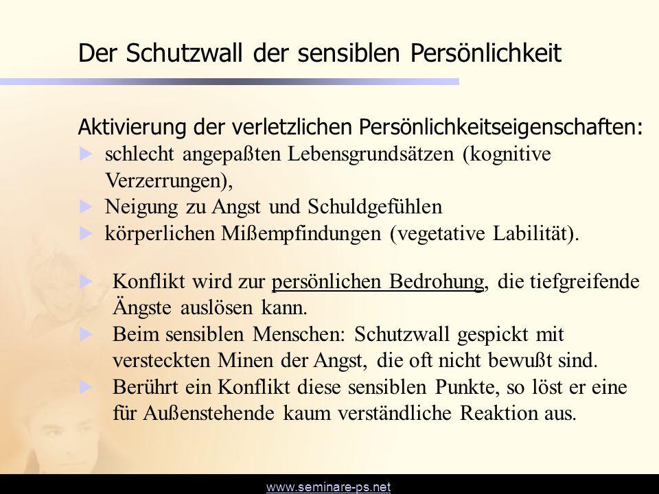 www.seminare-ps.net Der Schutzwall der sensiblen Persönlichkeit Aktivierung der verletzlichen Persönlichkeitseigenschaften:  schlecht angepaßten Lebe