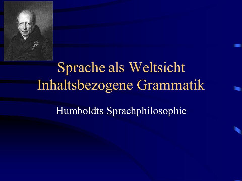 Sprache als Weltsicht Inhaltsbezogene Grammatik Humboldts Sprachphilosophie