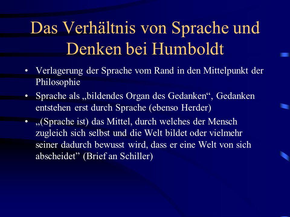 """Das Verhältnis von Sprache und Denken bei Humboldt Verlagerung der Sprache vom Rand in den Mittelpunkt der Philosophie Sprache als """"bildendes Organ de"""