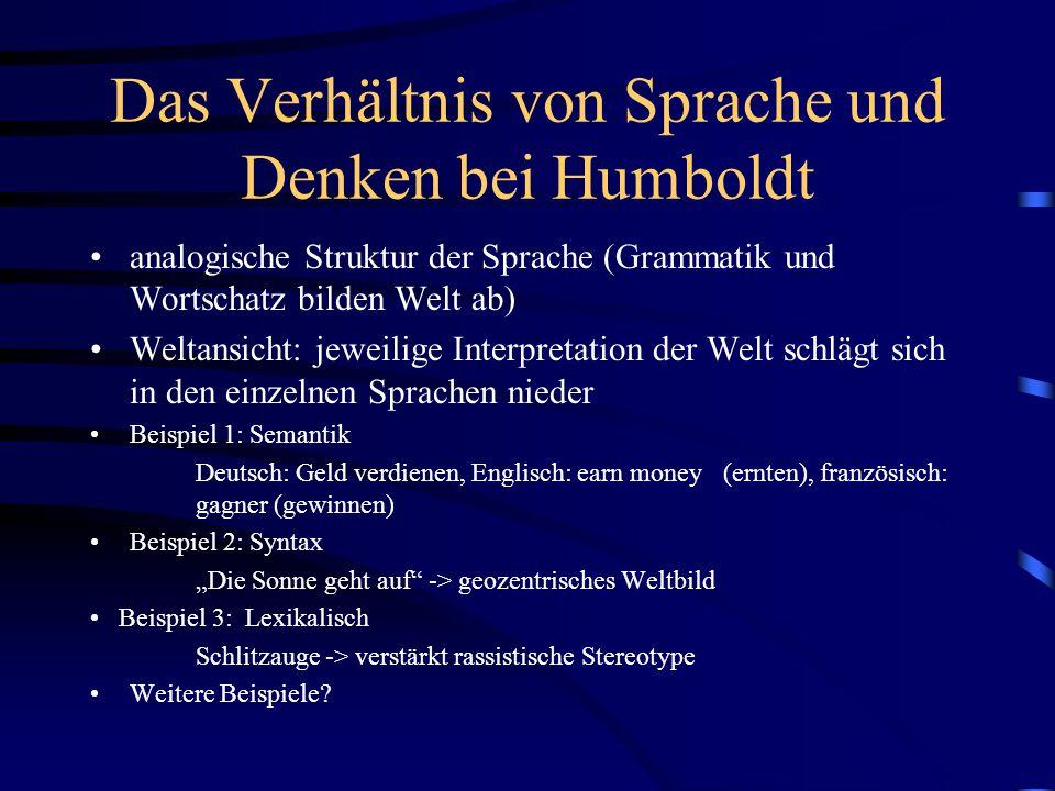 Das Verhältnis von Sprache und Denken bei Humboldt analogische Struktur der Sprache (Grammatik und Wortschatz bilden Welt ab) Weltansicht: jeweilige I