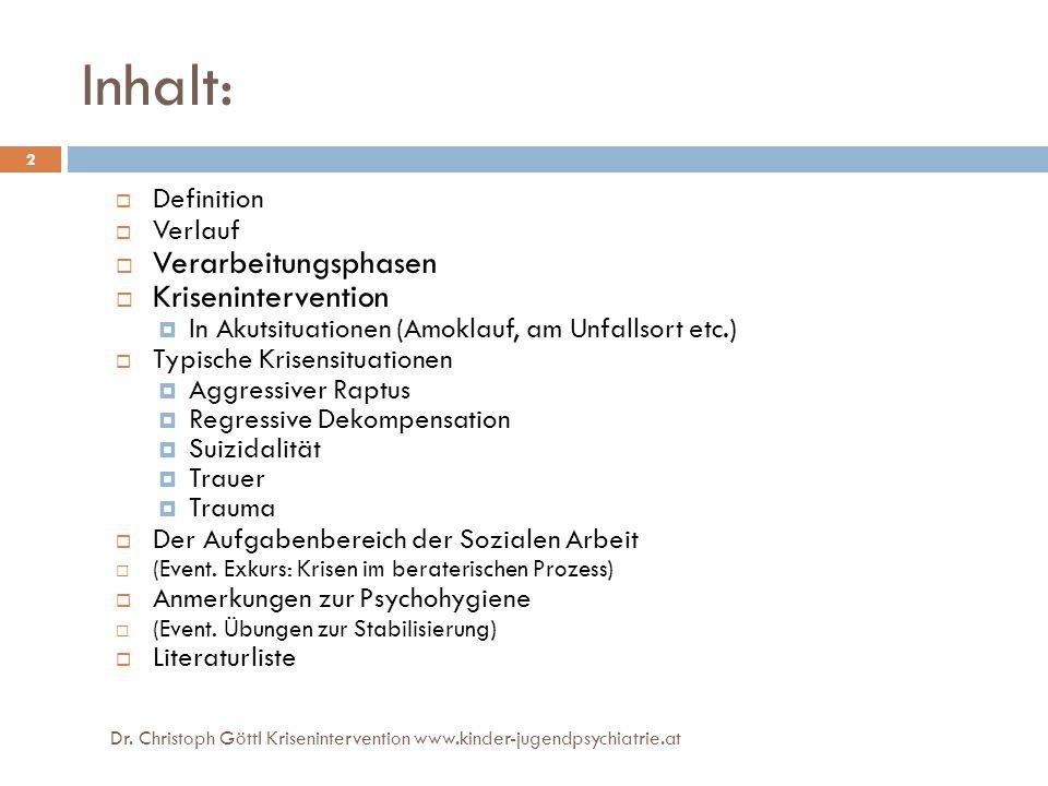 Veränderungskrisen 23 Dr. Christoph Göttl Krisenintervention www.kinder-jugendpsychiatrie.at