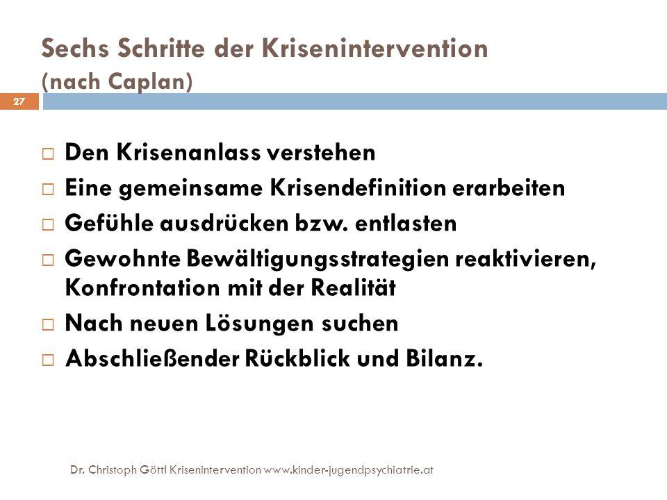 27 Sechs Schritte der Krisenintervention (nach Caplan)  Den Krisenanlass verstehen  Eine gemeinsame Krisendefinition erarbeiten  Gefühle ausdrücken