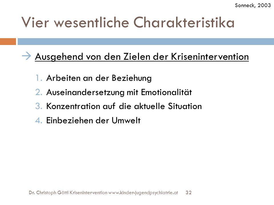 32 Vier wesentliche Charakteristika  Ausgehend von den Zielen der Krisenintervention 1.Arbeiten an der Beziehung 2.Auseinandersetzung mit Emotionalit