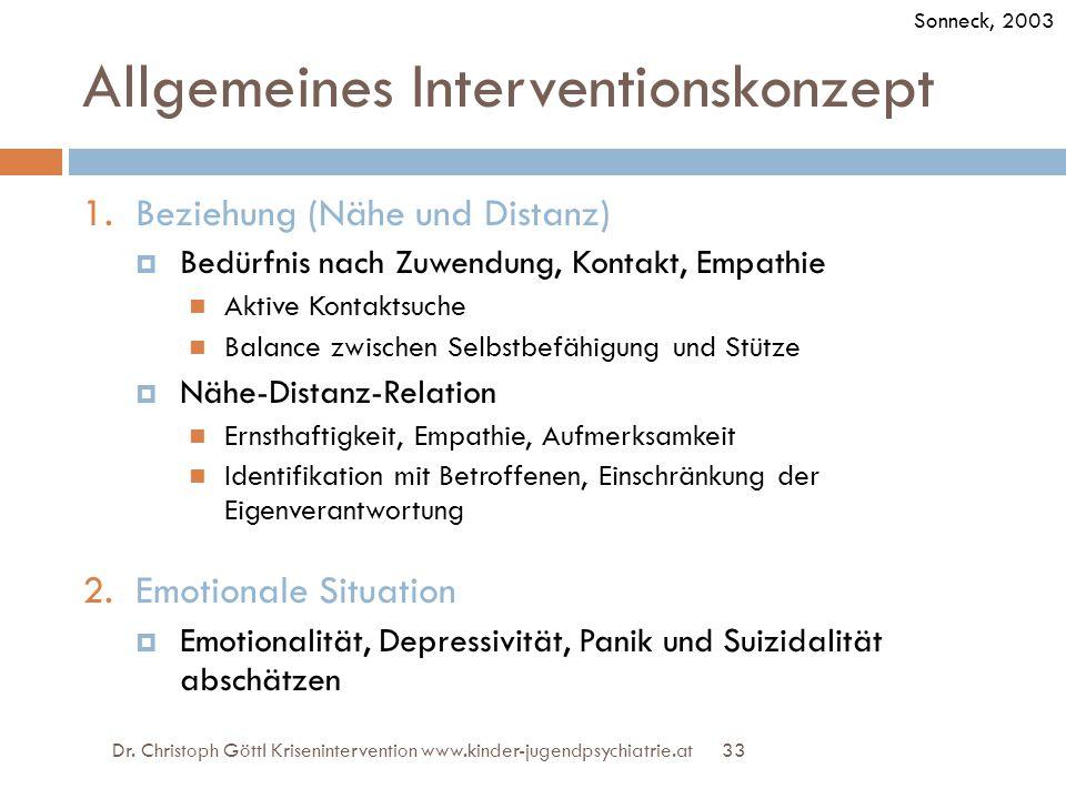 33 Allgemeines Interventionskonzept 1.Beziehung (Nähe und Distanz)  Bedürfnis nach Zuwendung, Kontakt, Empathie Aktive Kontaktsuche Balance zwischen