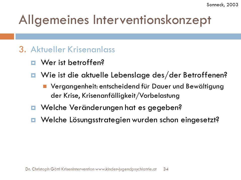 34 Allgemeines Interventionskonzept 3.Aktueller Krisenanlass  Wer ist betroffen?  Wie ist die aktuelle Lebenslage des/der Betroffenen? Vergangenheit