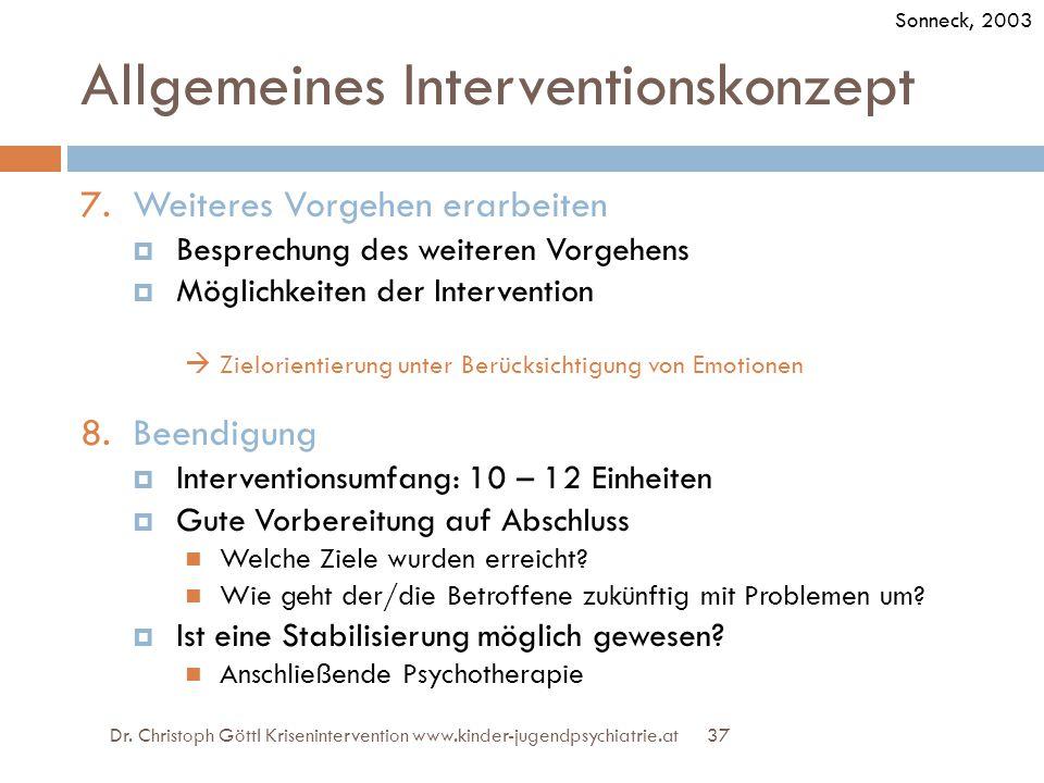 37 Allgemeines Interventionskonzept 7.Weiteres Vorgehen erarbeiten  Besprechung des weiteren Vorgehens  Möglichkeiten der Intervention  Zielorienti