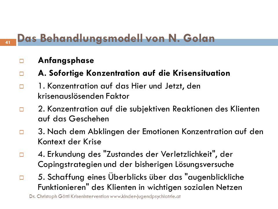 Dr. Christoph Göttl Krisenintervention www.kinder-jugendpsychiatrie.at 41 Das Behandlungsmodell von N. Golan  Anfangsphase  A. Sofortige Konzentrati