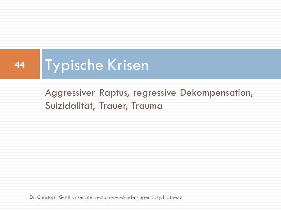 Aggressiver Raptus, regressive Dekompensation, Suizidalität, Trauer, Trauma Typische Krisen 44 Dr. Christoph Göttl Krisenintervention www.kinder-jugen