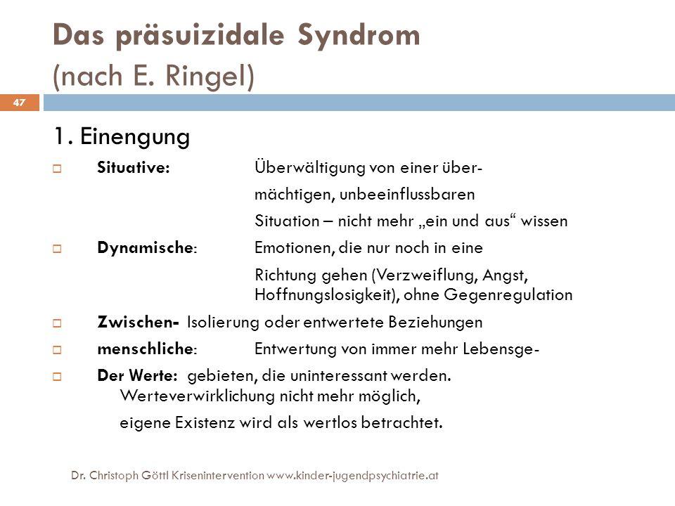Dr. Christoph Göttl Krisenintervention www.kinder-jugendpsychiatrie.at 47 Das präsuizidale Syndrom (nach E. Ringel) 1. Einengung  Situative:Überwälti
