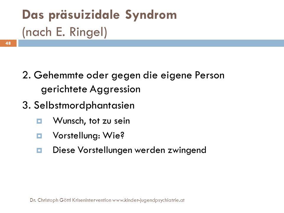 Dr. Christoph Göttl Krisenintervention www.kinder-jugendpsychiatrie.at 48 Das präsuizidale Syndrom (nach E. Ringel) 2. Gehemmte oder gegen die eigene