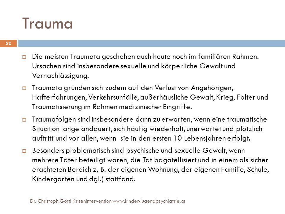 Dr. Christoph Göttl Krisenintervention www.kinder-jugendpsychiatrie.at 52 Trauma  Die meisten Traumata geschehen auch heute noch im familiären Rahmen